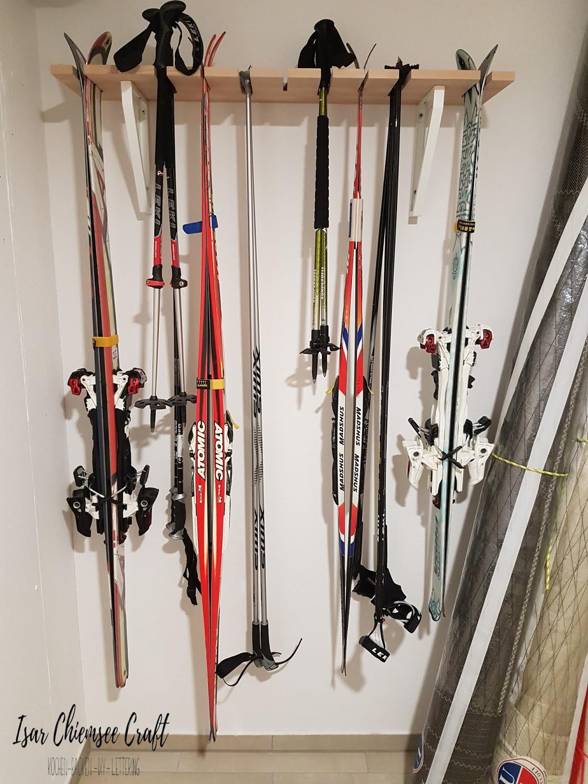 Halterung für Ski, Langlaufski und Stöcke selber bauen