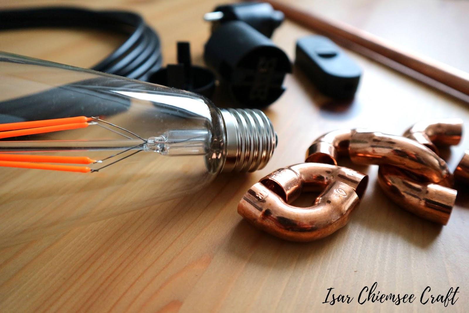 DIY Lampe aus Kupferrohren