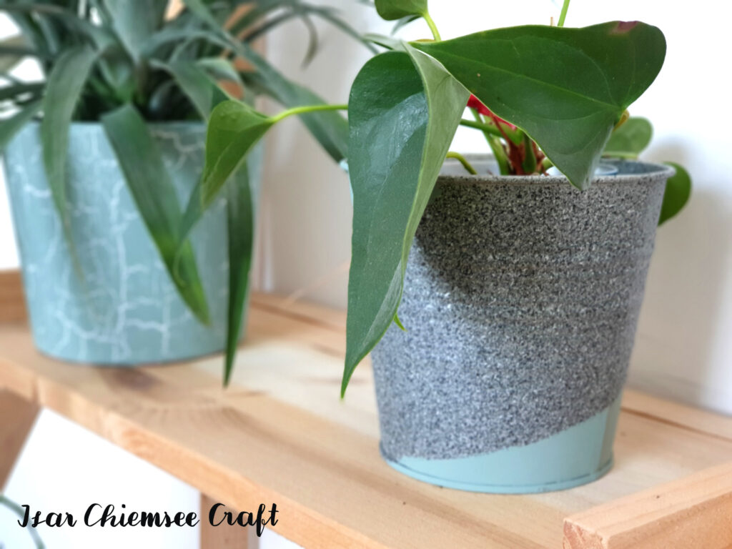 Blumentopf Upcycling Granitspray DIY