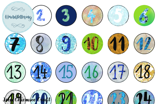 Zahlen Vorlage für selbstgebastelte Adventskalender