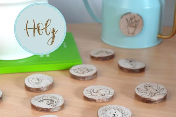 Holzscheiben DIY: Magnete mit Brandmalerei basteln