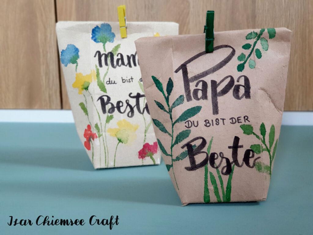 Milchkarton DIY Geschenktüte mit Watercolor und Lettering