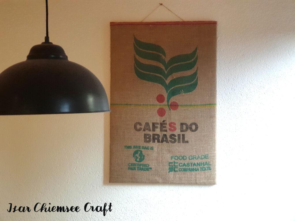 Wandbild Kaffeesack Upcycling
